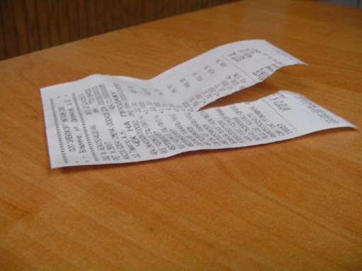 SHE TORE THE RECEIPT