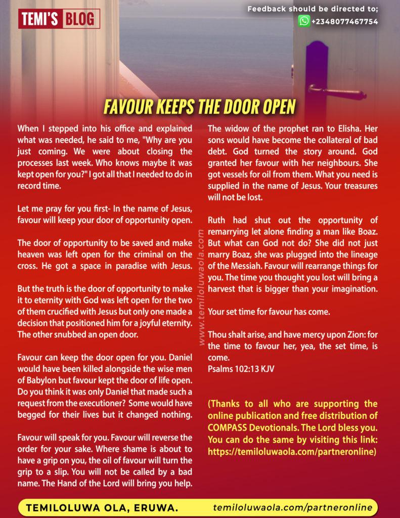 FAVOUR KEEPS THE DOOR OPEN
